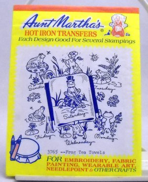 Aunt Martha's Hot Iron Transfers from Colonial Patterns, Inc. - 3765 Frog Tea Towels