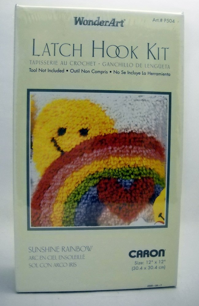 "Latch Hook Kit WonderArt by Caron (12"" x 12"") - Sunshine Rainbow P504"