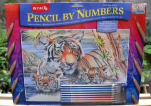 Pencil by Numbers Kit from Reeves - Tiger & Cubs PPCR1