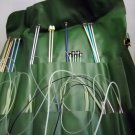 Lot of 8 pairs Single Point Knitting Needles and 8 pairs Circular Needles in a Vinyl Roll Case