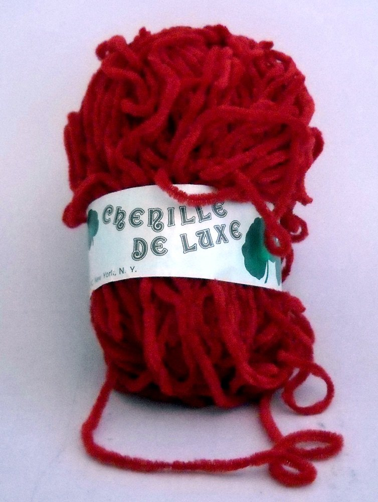 Italian Yarn Chenille De Luxe by William Unger & Co., Inc. 1-7/10 oz (48 g) skein - color 67 red