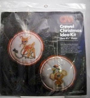 Vintage 1976 Columbia-Minerva  Crewel Christmas Idea Kit - Koala Bear & Deer  #7944