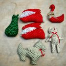 Lot of 6 Handmade Calico Cloth Stuffed Christmas Ornaments