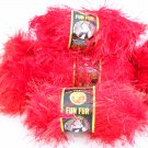 Lion Brand Fun Fur Yarn 64yd (58 meters) per 1-3/4 oz skein - 4+ skeins red color 113