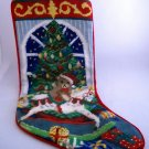 Completed Needlepoint Christmas Stocking  -  Christmas Tree and Toys