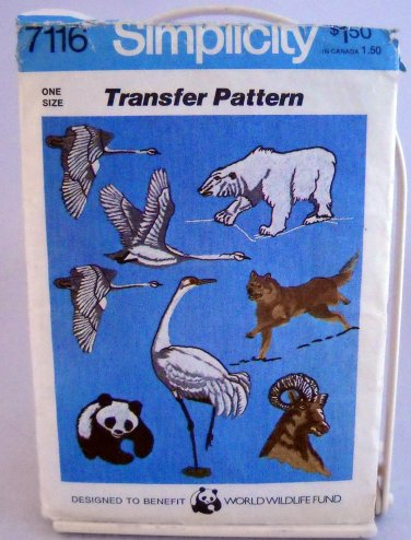 Simplicity Transfer Pattern 7116 - World Wildlife Fund Endangered Species