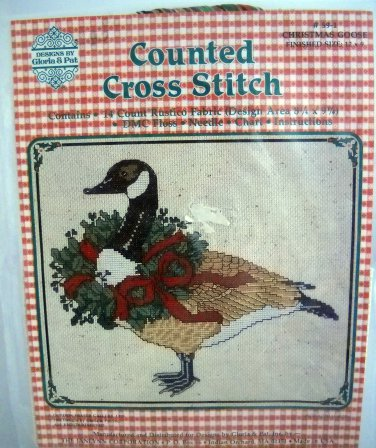 Janlynn by Gloria & Pat Counted Cross Stitch Kit Christmas Goose #59-1 New 12 X 9