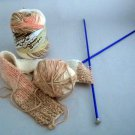Lily Sugar'n Cream Stripes Yarn 2 oz (56.7 g)  - Lot of 2 balls and l ball knitted on #5 needles