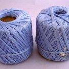 J & P Coats cotton Knit Cro-Sheen 175 yd Cotton Thread - 2 balls light blue