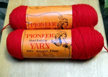 Vintage Pioneer Yarn 4 oz  skein - Lot of 2 skeins devil red 303