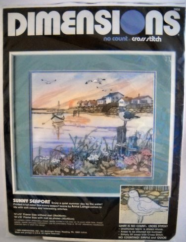 Dimensions No Count Cross Stitch Kit (1989 Made in USA ) - Sunny Seaport 3932