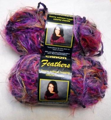 Caron Feathers 1.75 oz, 70 yd skein  - Lot of 2 skeins purple haze