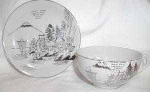 Kutani Lithophane Cup and Saucer - L0019