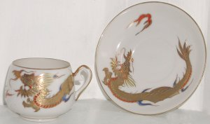 Dragonware Moriage Lithophane Cup and Saucer - L0044