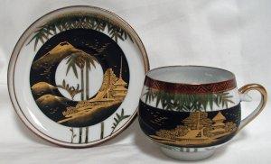 Kutaniyaki Lithophane Cup and Saucer - L0046