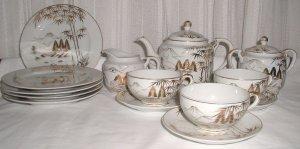 Pretty Gold and White Lithophane Tea Set - L0010