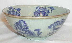 Vintage Dragonware Blue and White Bowl -   B0040