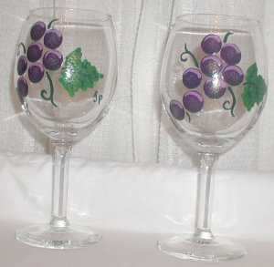 Pretty Hand Painted Wine Glasses - M0058