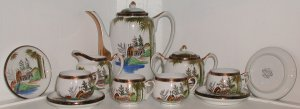 Beautiful Lithophane Kutani Tea Set - L0041