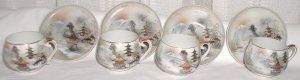 Beautiful Lithophane Four Cups and Four Saucers Set - L0016