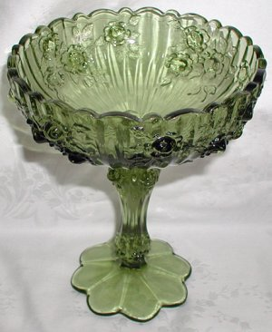 Green Fenton Compote Dish in Colonial Rose Pattern - CB0027
