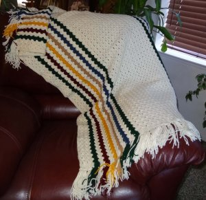 Hand Crocheted Afghan White With Stripes of Green, Blue, Gold, Beige, Dark Red - CM011