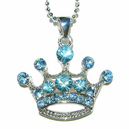 Baby Blue Royal Queen Crown Swarovski Crystal Pendant Necklace