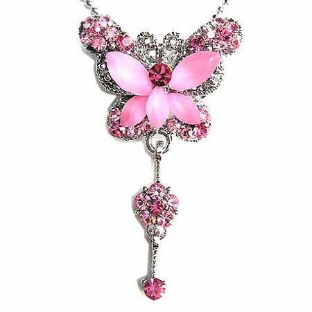 Butterfly Dangling Flower Swarovski Crystal Necklace