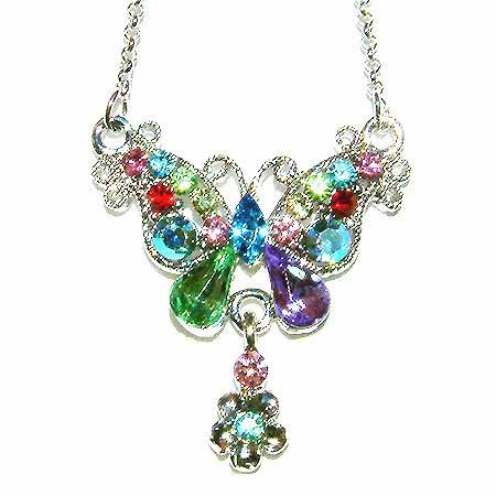 Rainbow Butterfly Flower Swarovski Crystal Necklace