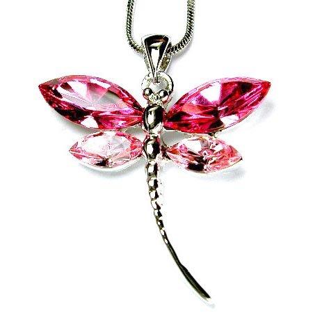 Bridal Wedding Swarovski Crystal Pink Dragonfly Pendant Necklace