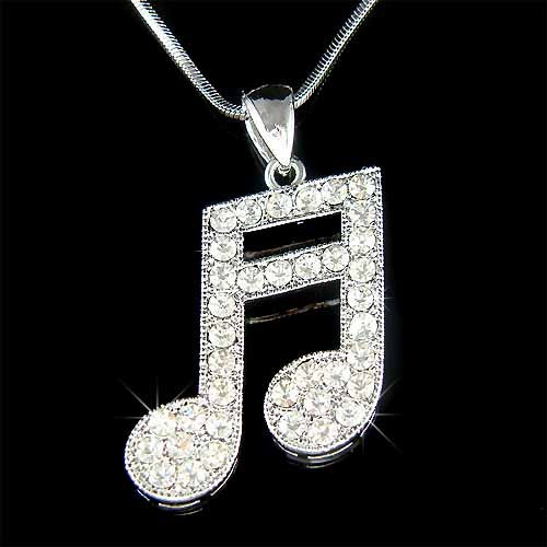 Musical Swarovski Crystal Clear Sixteenth Music note Necklace