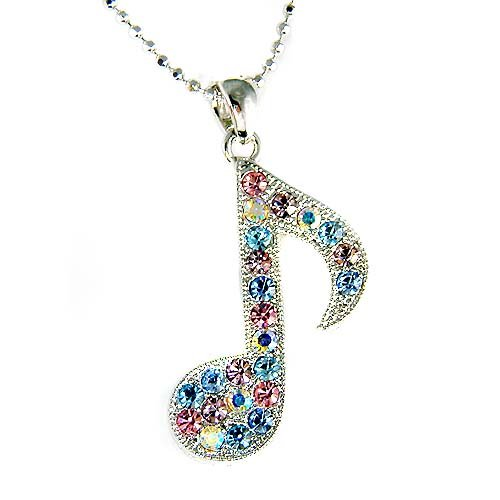 Swarovski Crystal Pastel Music Note Musical Pendant Necklace
