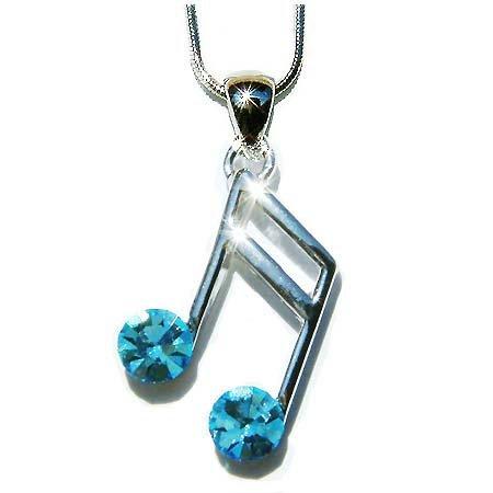 Aqua Sixteenth Music note Swarovski Crystal Pendant Necklace