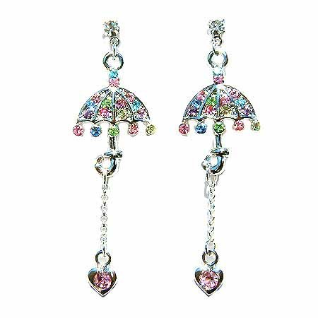 Umbrella Heart Drop Swarovski Crystal Earrings