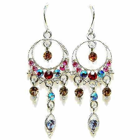 Fall Multi Color Sparkling Swarovski Crystal Chandelier Earrings