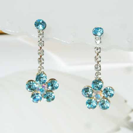 Aqua Flower Swarovski Crystal Earrings