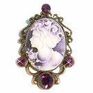 Victorian Cameo Swarovski Crystal Pendant Brooch
