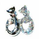 Clear Cat Lovers Swarovski Crystal Brooch