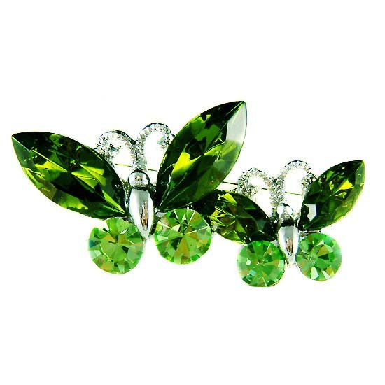 Xmas Green Butterfly Friends Swarovski Crystal Brooch