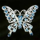 Blue Cutout Butterfly Swarovski Crystal Brooch