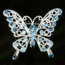 Blue Cutout Butterfly Swarovski Crystal Brooch