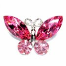 Swarovski Crystal Bridal Wedding Pink Butterfly Brooch
