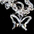 Cut-out Butterfly Swarovski Crystal Pendant Toggle Bracelet