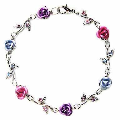 Pastel Rose Flower Swarovski Crystal Bracelet