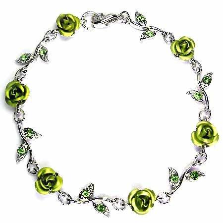 Green Rose Flower Swarovski Crystal Bracelet