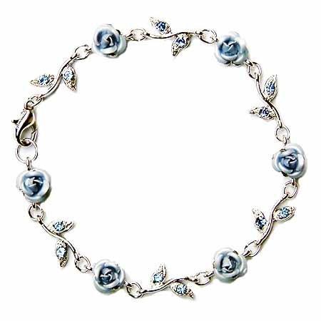 Light Sapphire Rose Flower Swarovski Crystal Bracelet