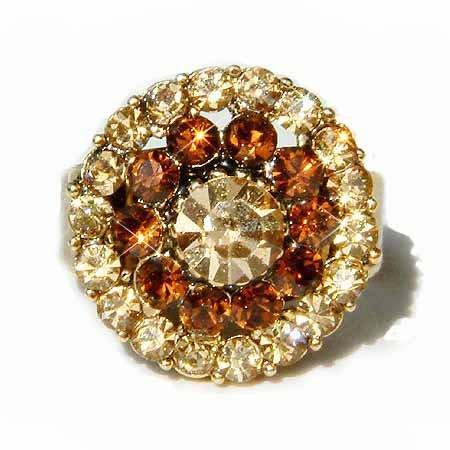 Topaz Gold Circle of Love Swarovski Crystal Cocktail Ring