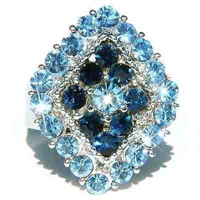 Bridal Swarovski Crystal Blue Diamond Cocktail Party Ring