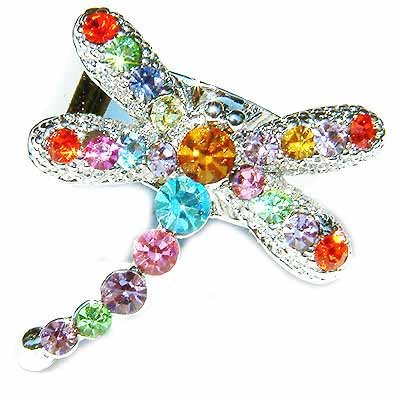 Rainbow Dragonfly Swarovski Crystal Ring