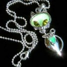 Green Cat Swarovski Crystal Necklace